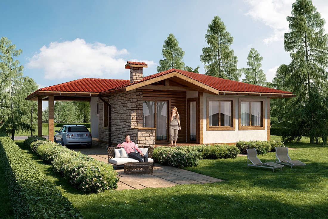 Thyme - A one family house, Built-up area: 73.5 sq. m., Canopy: 18.6 sq. m., Terrace: 11.7 sq. m.