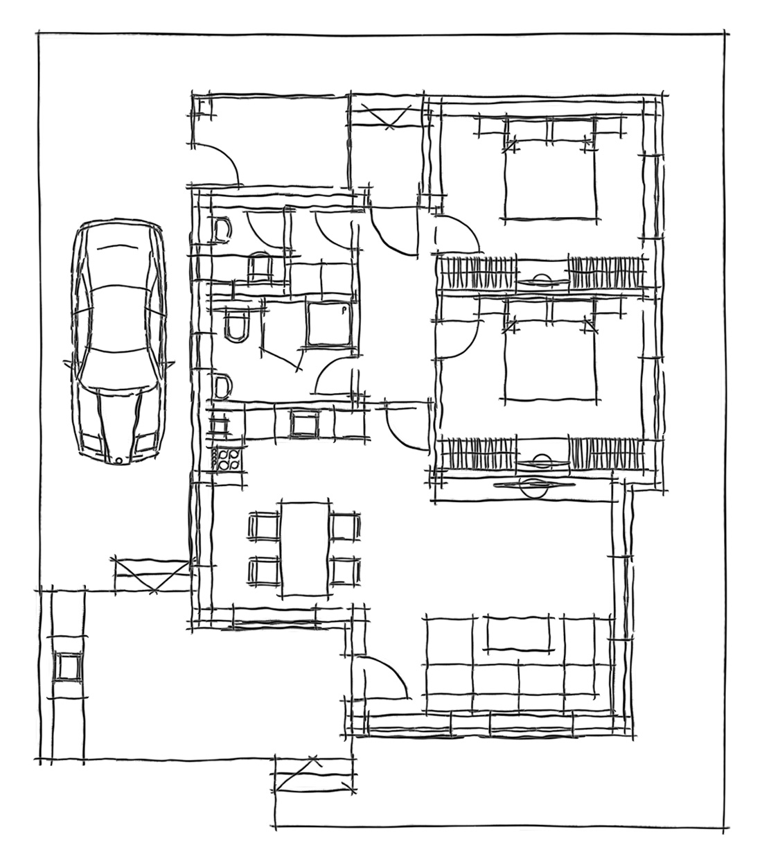 Matricaria - A one family house, Built-up area: 92.4 sq. m., Canopy: 18.7 sq. m., Terrace: 12.2 sq. m.