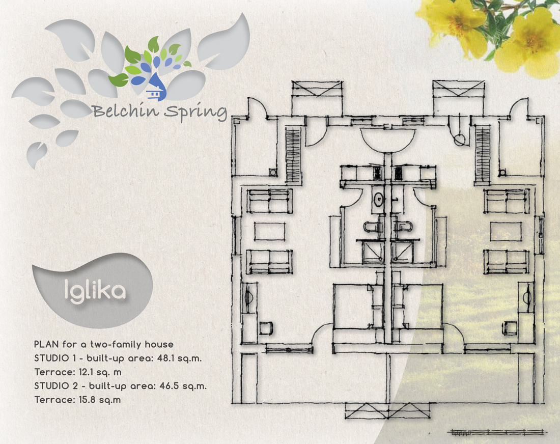 Primula - A two-family house, STUDIO 1 - built-up area: 48.1 sq. m., Terrace: 12.1 sq. m., STUDIO 2 - built-up area: 46.5 sq. m., Terrace: 15.8 sq. m.