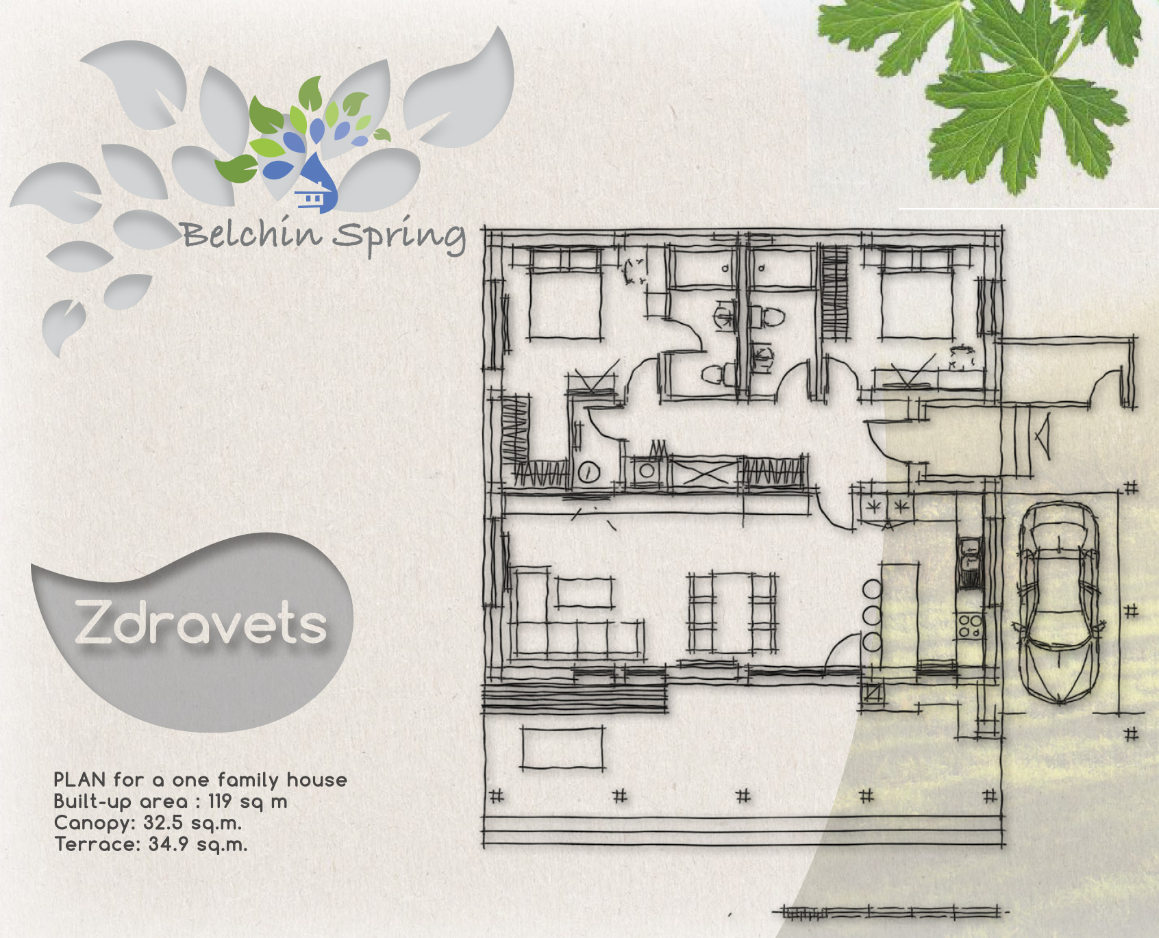 Geranium - A one family house, Built-up area: 119 sq. m., Canopy: 32.5 sq. m., Terrace: 34.9 sq. m.